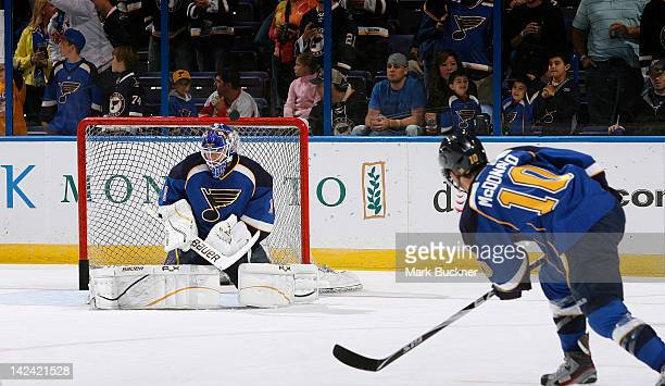 Goalie Brian Elliott of the St Louis Blues blocks a shot from teammate Andy McDonald during warmups in an NHL game against the Detroit Red Wings on...