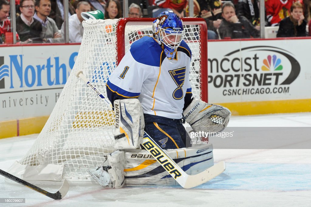 Goalie Brian Elliott #1 of the St. Louis Blues guards the net during the NHL game against the Chicago Blackhawks on January 22, 2013 at the United Center in Chicago, Illinois.