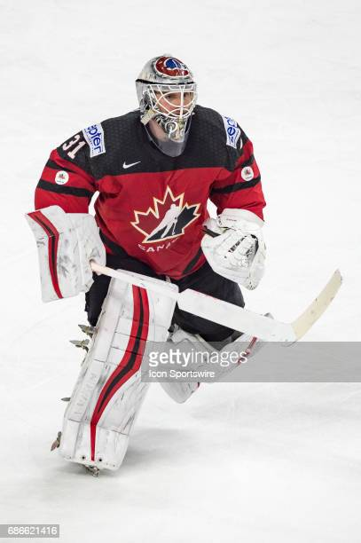 Goalie Calvin Pickard in action during the Ice Hockey World Championship Gold medal game between Canada and Sweden at Lanxess Arena in Cologne...