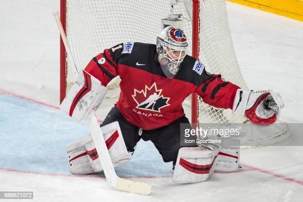 Goalie Calvin Pickard makes a glove save during the Ice Hockey World Championship Gold medal game between Canada and Sweden at Lanxess Arena in...