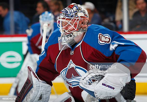 Goalie Calvin Pickard of the Colorado Avalanche warms up prior to facing the Los Angeles Kings at Pepsi Center on March 10 2015 in Denver Colorado