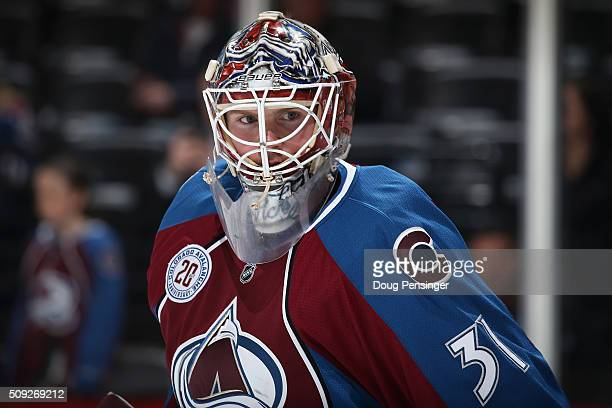 Goalie Calvin Pickard of the Colorado Avalanche warms up prior to facing the Vancouver Canucks at Pepsi Center on February 9 2016 in Denver Colorado