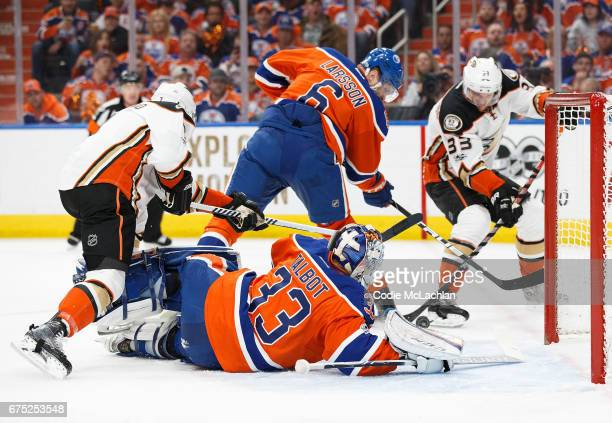Goalie Cam Talbot of the Edmonton Oilers can't stop a goal by Jakob Silfverberg of the Anaheim Ducks in Game Three of the Western Conference Second...