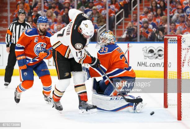 Goalie Cam Talbot of the Edmonton Oilers can't stop a goal from Ryan Kesler of the Anaheim Ducks in Game Three of the Western Conference Second Round...