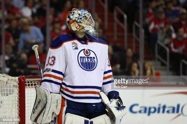 Goalie Cam Talbot of the Edmonton Oilers follows play in the second period against the Washington Capitals at Verizon Center on February 24 2017 in...