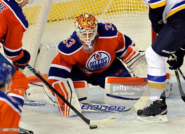 Goalie Cam Talbot of the Edmonton Oilers tends net against the St Louis Blues at Rexall Place on October 15 2015 in Edmonton Alberta Canada