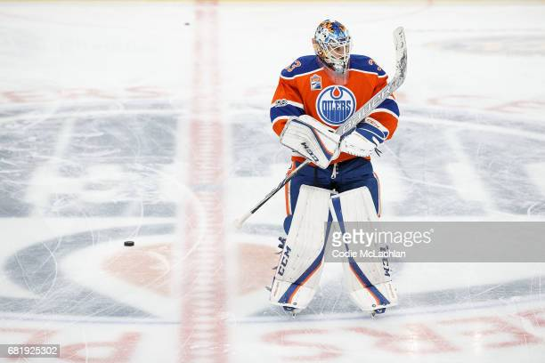 Goalie Cam Talbot of the Edmonton Oilers warms up against the Anaheim Ducks in Game Six of the Western Conference Second Round during the 2017 NHL...