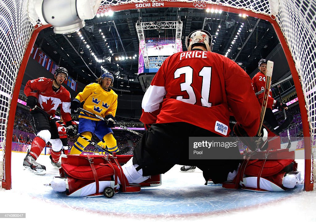 Goalie Carey Price #31 of Canada makes a save in the first period during the Men's Ice Hockey Bronze Medal Game on Day 15 of the 2014 Sochi Winter Olympics at Bolshoy Ice Dome on February 22, 2014 in Sochi, Russia.