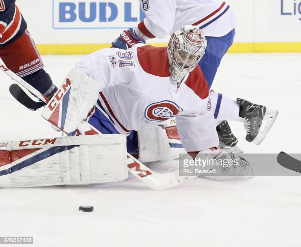 Goalie Carey Price of the Montreal Canadiens makes a save in an NHL hockey game against the New York Rangers at Madison Square Garden on March 4 2017...