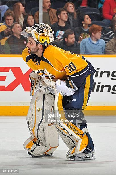 Goalie Carter Hutton of the Nashville Predators plays against the Chicago Blackhawks at Bridgestone Arena on December 17 2013 in Nashville Tennessee