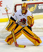 Goalie Charlie Graham of the Belleville Bulls prepares for a shot against the Mississauga Steelheads during the OHL game on January 16 2015 at the...