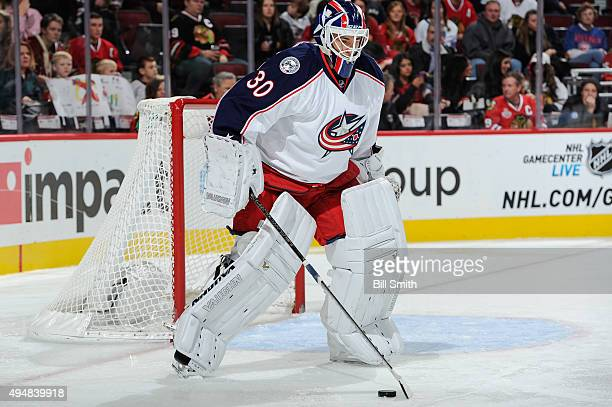Goalie Curtis McElhinney of the Columbus Blue Jackets guards the net during the NHL game against the Chicago Blackhawks at the United Center on...