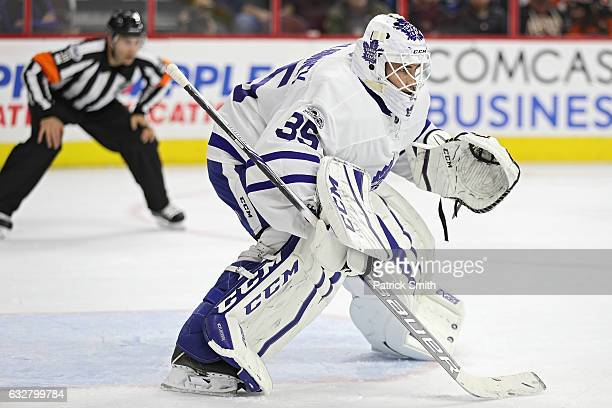 Goalie Curtis McElhinney of the Toronto Maple Leafs tends the net against the Philadelphia Flyers during the second period at Wells Fargo Center on...
