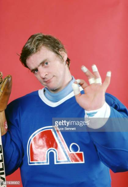 Goalie Dan Bouchard of the Quebec Nordiques poses for a portrait as he shows the tape on his fingers circa March 1981