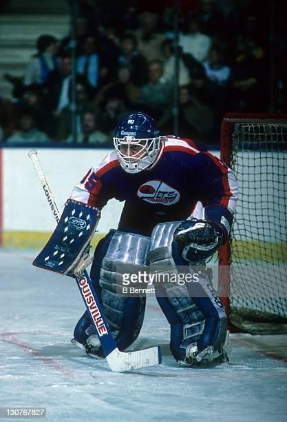 Goalie Dan Bouchard of the Winnipeg Jets defends the net during an NHL game against the New York Islanders on December 3 1985 at the Nassau Coliseum...