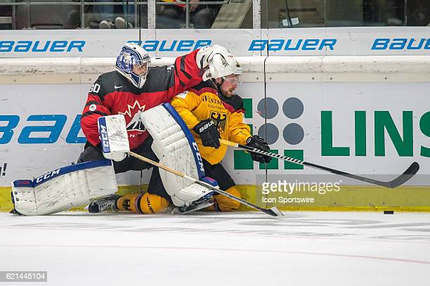 Goalie Danny Taylor vies with Goalie Mathias Niederberger during the Deutschland Cup between Germany and Canada on November 06 at Curt Frenzel...