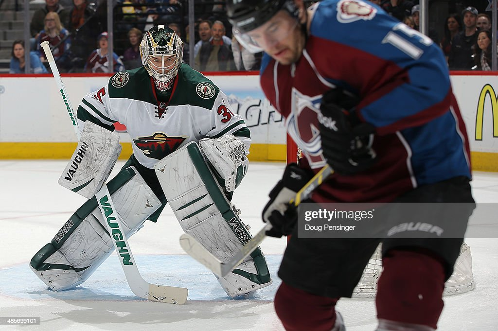 Goalie Darcy Kuemper of the Minnesota Wild defends the goal after entering the game in the second period against the Colorado Avalanche Game Two of...