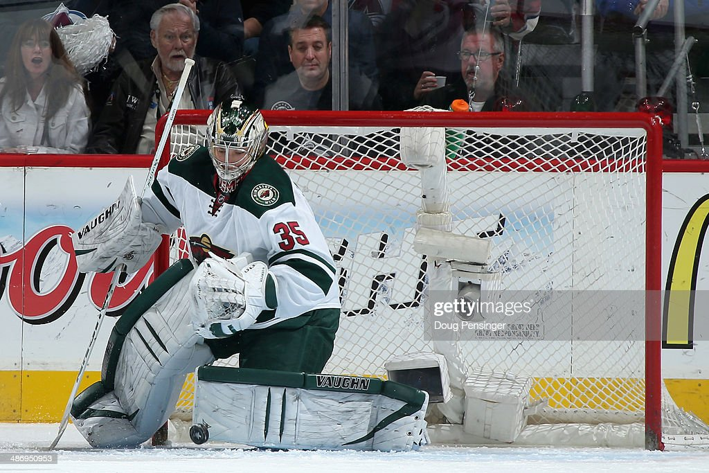 Goalie Darcy Kuemper of the Minnesota Wild makes a save against the Colorado Avalanche in Game Five of the First Round of the 2014 NHL Stanley Cup...