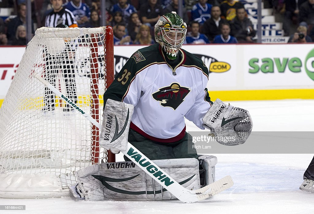 Goalie Darcy Kuemper #35 of the Minnesota Wild squares up to make a save during NHL action against the Vancouver Canucks on February 12, 2013 at Rogers Arena in Vancouver, British Columbia, Canada.