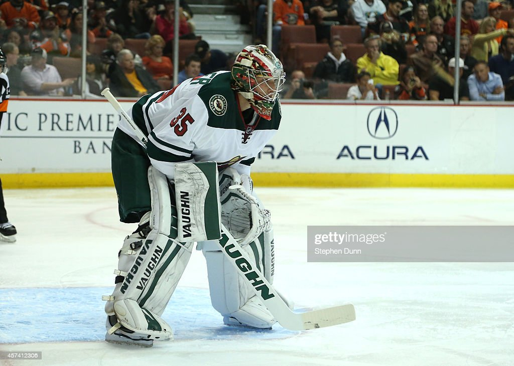 Goalie Darcy Kuemper of the Minnesota Wild stands in the front of the net against the Anaheim Ducks at Honda Center on October 17 2014 in Anaheim...