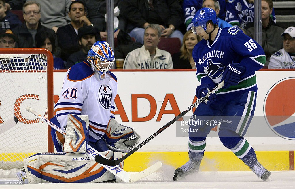 Goalie <a gi-track='captionPersonalityLinkClicked' href=/galleries/search?phrase=Devan+Dubnyk&family=editorial&specificpeople=2089794 ng-click='$event.stopPropagation()'>Devan Dubnyk</a> #40 of the Edmonton Oilers stops <a gi-track='captionPersonalityLinkClicked' href=/galleries/search?phrase=Jannik+Hansen&family=editorial&specificpeople=741716 ng-click='$event.stopPropagation()'>Jannik Hansen</a> #36 of the Vancouver Canucks in close during the third period of NHL action on January 20, 2013 at Rogers Arena in Vancouver, British Columbia, Canada.