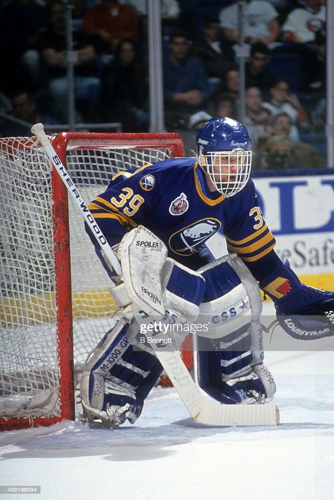 Goalie Dominik Hasek of the Buffalo Sabres defends the net during an NHL game against the New York Islanders on November 14 1992 at the Nassau...
