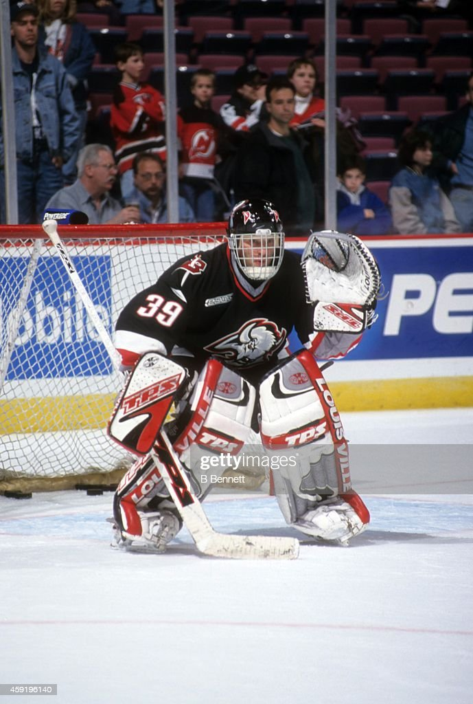 Goalie Dominik Hasek of the Buffalo Sabres warmsup before an NHL game against the New Jersey Devils on April 6 2000 at the Continental Airlines Arena...