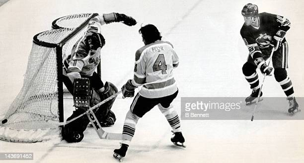 Goalie Don McLeod of the Vancouver Blazers deflects the shot by Paul Henderson of the Toronto Toros as McLeod's teammate Mike Pelyk helps on November...