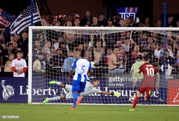 Goalie Donis Escober of Honduras can not stop a goal scored by Michael Bradley of the United States during their FIFA 2018 World Cup Qualifier at...