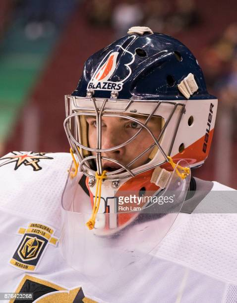 Goalie Dylan Ferguson of the Vegas Golden Knights during the pregame warmup prior to NHL action against the Vancouver Canucks on November 2017 at...