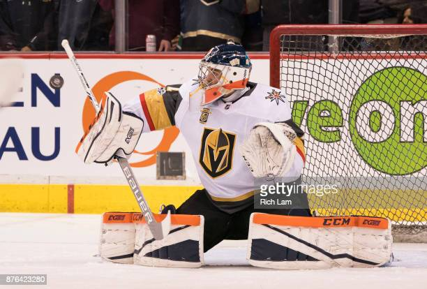 Goalie Dylan Ferguson of the Vegas Golden Knights makes a save during the pregame warmup prior to NHL action against the Vancouver Canucks on...
