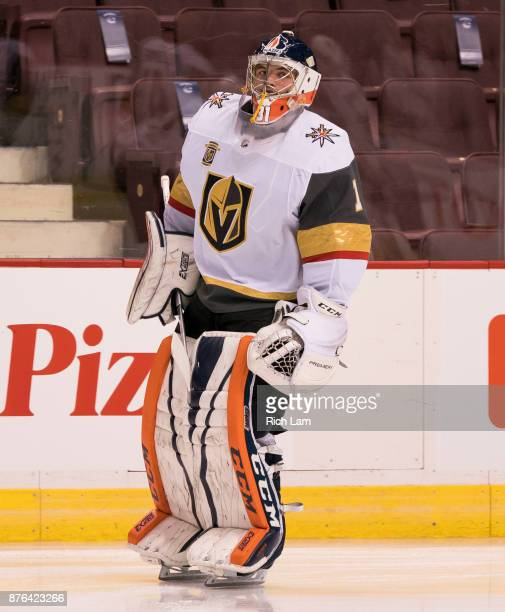 Goalie Dylan Ferguson of the Vegas Golden Knights skates in the pregame warmup prior to NHL action against the Vancouver Canucks on November 2017 at...