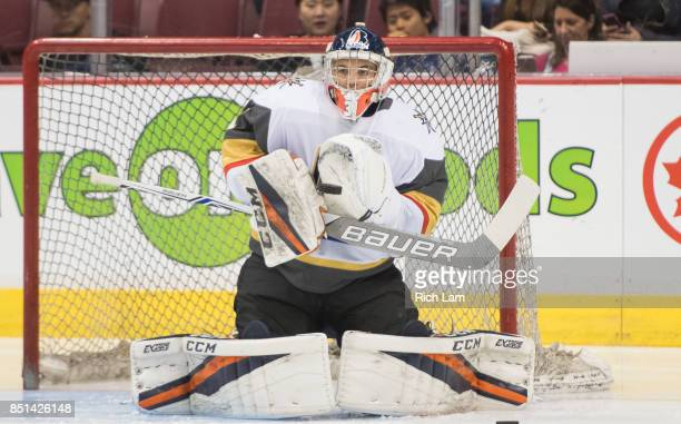 Goalie Dylan Fergusonof the Las Vegas Golden Knights before a game against the Vancouver Canucks in NHL preseason action on September 17 2017 at...