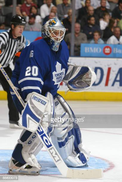 Goalie Ed Belfour of the Toronto Maple Leafs looks on against the Buffalo Sabres during their NHL preseason game at the Air Canada Centre September...