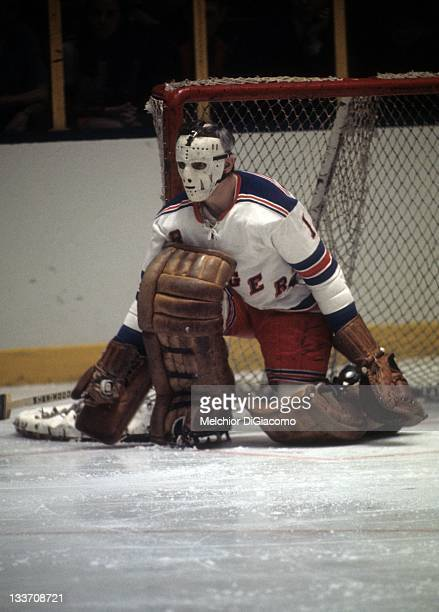 Goalie Ed Giacomin of the New York Rangers defends the net during an NHL game circa 1972 at the Madison Square Garden in New York New York