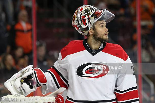 Goalie Eddie Lack of the Carolina Hurricanes looks on after allowing a goal to Brayden Schenn of the Philadelphia Flyers in the second period at...