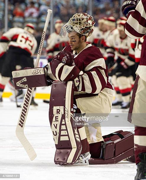 Goalie Eddie Lack of the Vancouver Canucks during the pregame warm against the Ottawa Senators up on March 02 2014 at the 2014 Tim Hortons Heritage...