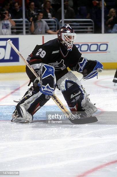 Goalie Felix Potvin of the Vancouver Canucks defends the net during an NHL game against the Los Angeles Kings on February 29 2000 at the Staples...