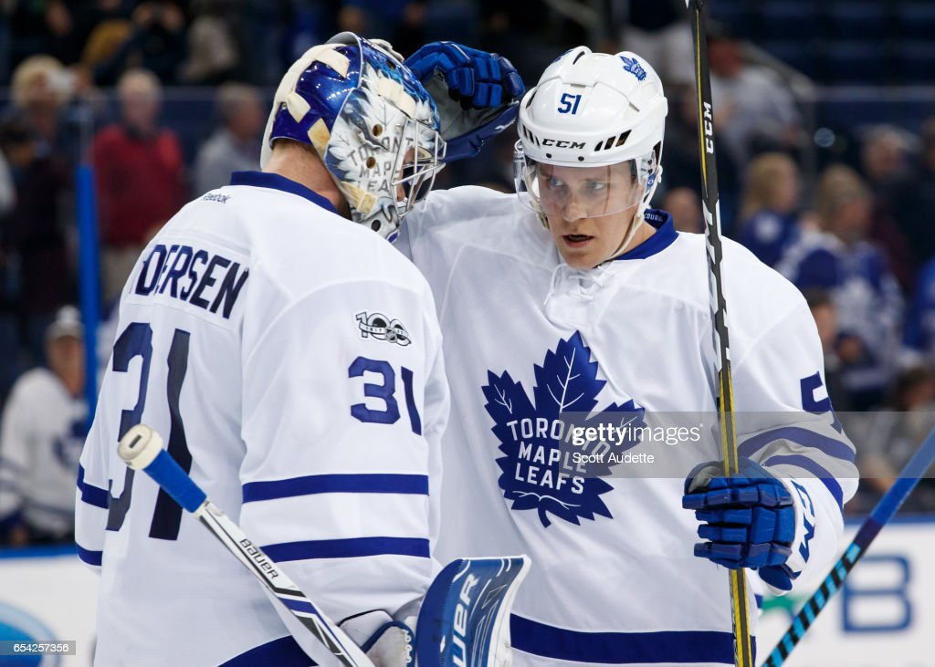Goalie Frederik Andersen #31 and Jake Gardiner #51 of the Toronto Maple Leafs celebrate the win against the Tampa Bay Lightning at Amalie Arena on March 16, 2017 in Tampa, Florida.
