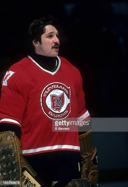 Goalie Gilles Meloche of the Cleveland Barons skates on the ice during warmups before the game against the New York Rangers on March 8 1978 at the...