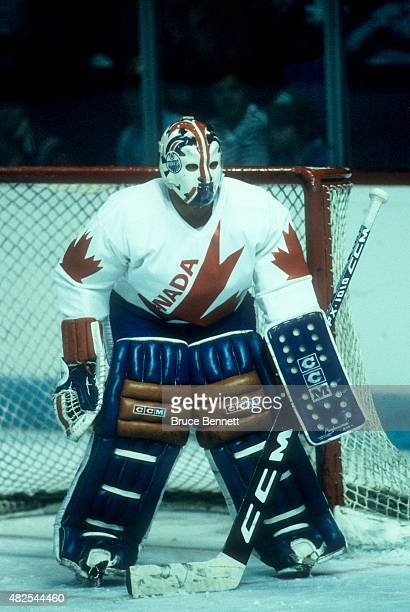 Goalie Grant Fuhr of Team Canada defends the net during the 1984 Canada Cup against Team USA on September 3 1984 at the Montreal Forum in Montreal...