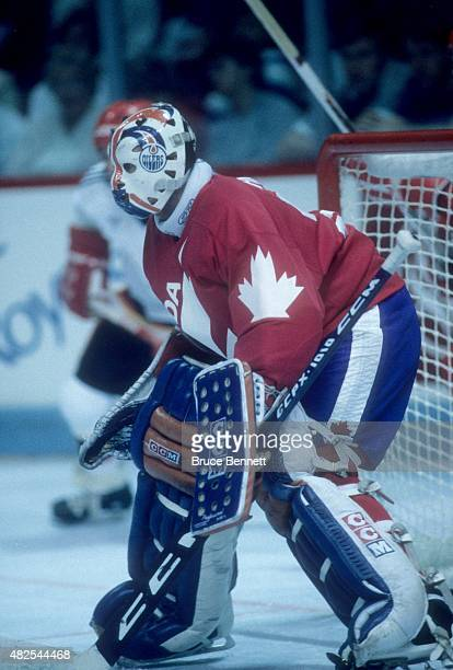 Goalie Grant Fuhr of Team Canada defends the net during the 1984 Canada Cup against Team West Germany on September 1 1984 at the Montreal Forum in...