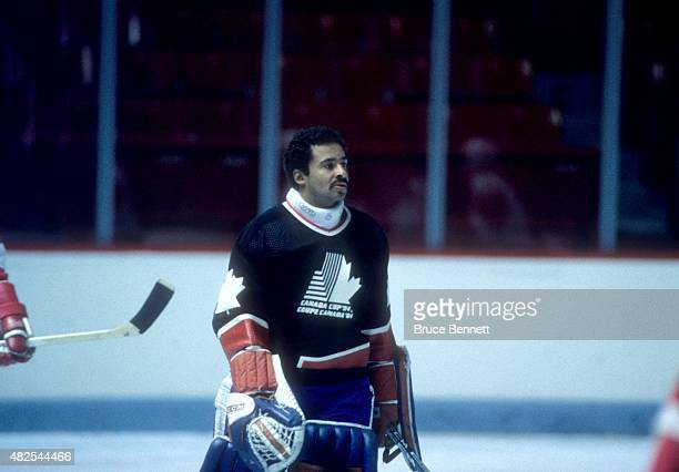Goalie Grant Fuhr of Team Canada skates on the ice during warmups before a 1984 Canada Cup game in September 1984 at the Montreal Forum in Montreal...