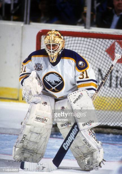 Goalie Grant Fuhr of the Buffalo Sabres defends the net during an NHL game circa 1994 at the Buffalo Memorial Auditorium in Buffalo New York