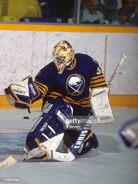 Goalie Grant Fuhr of the Buffalo Sabres makes the save during an NHL game in 1994