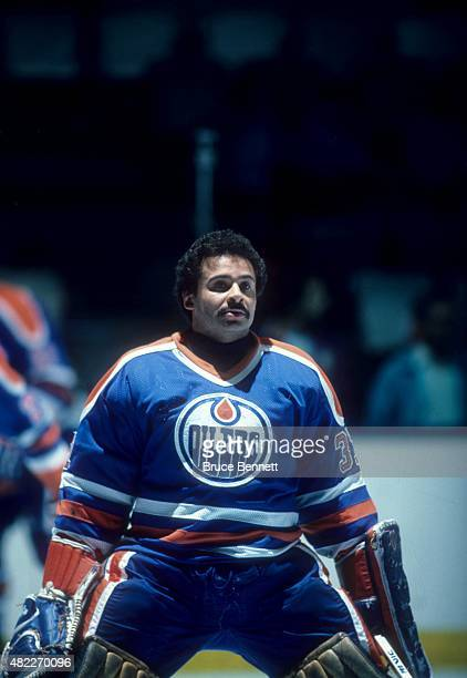 Goalie Grant Fuhr of the Edmonton Oilers skates on the ice during warmups before a1984 Stanley Cup Finals game against the New York Islanders in May...