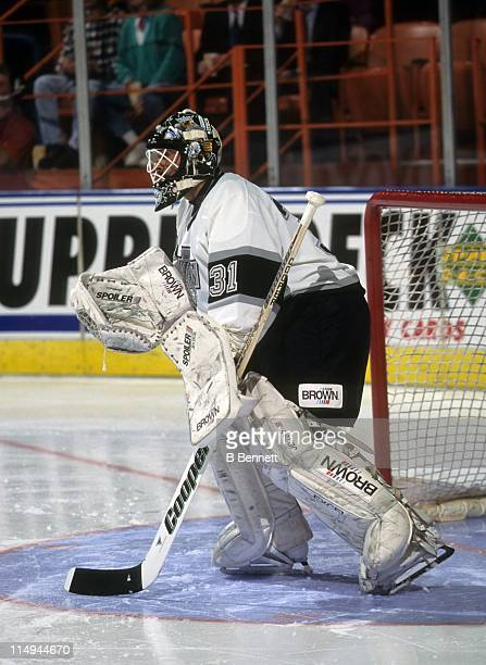 Goalie Grant Fuhr of the Los Angeles Kings defends the net during an NHL game in February 1995 at the Great Western Forum in Inglewood California