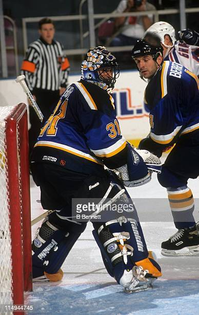 Goalie Grant Fuhr of the St Louis Blues defends the net during an NHL game against the New York Rangers on October 12 1998 at the Madison Square...