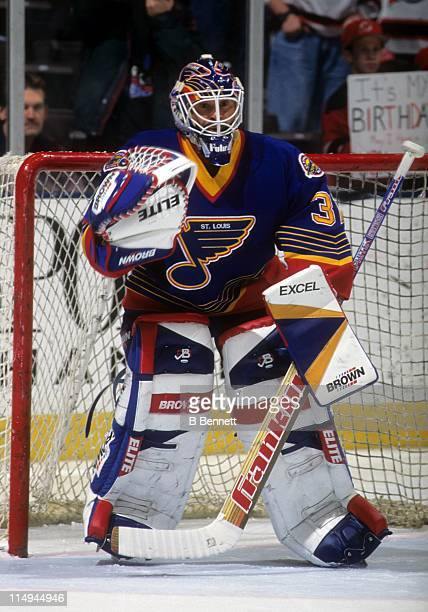Goalie Grant Fuhr of the St Louis Blues defends the net during an NHL game against the New Jersey Devils on January 5 1997 at the Contenental...