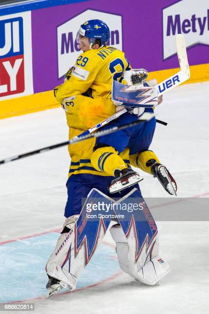 Goalie Henrik Lundqvist and William Nylander celebrates the win during the Ice Hockey World Championship Gold medal game between Canada and Sweden at...